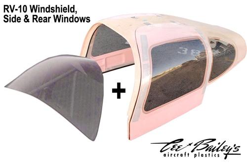Cee Bailey's RV-10 Windshield, pilot & co-pilot door windows, left & right  rear window set